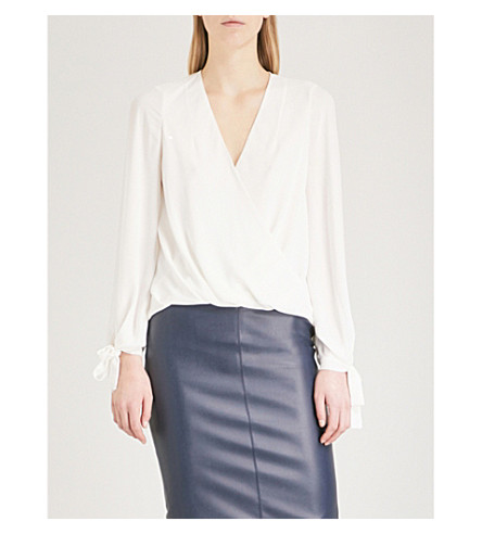 KAREN MILLEN Wrap-effect chiffon blouse (Cream