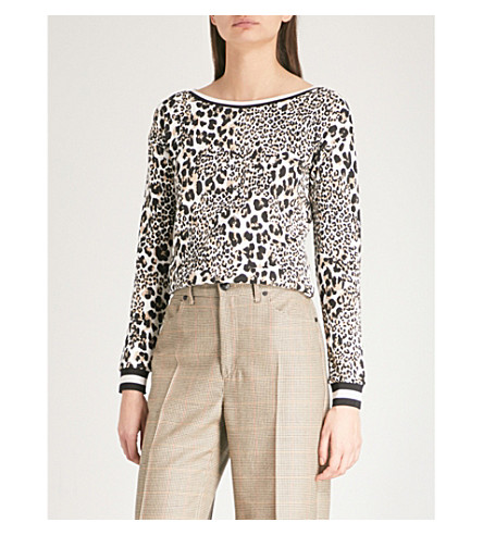 KAREN MILLEN Leopard-print cotton-jersey sweatshirt (Multi-coloured