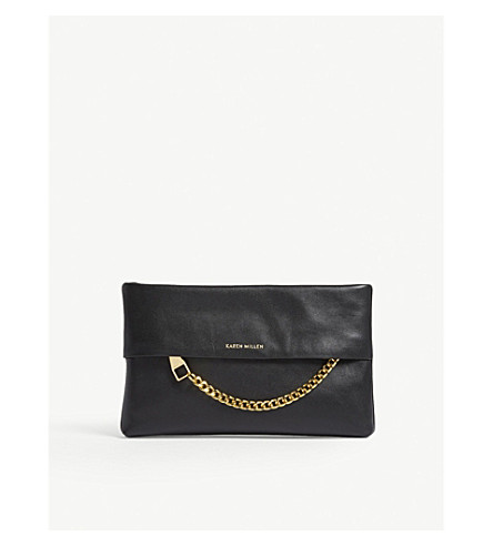 KAREN MILLEN Chain leather clutch bag (Black