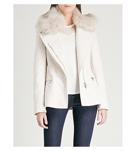 KAREN MILLEN Faux-fur collar cotton-felt biker jacket (Cream