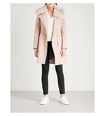 KAREN MILLEN Faux-fur collar cotton-felt wrap coat (Pale+pink