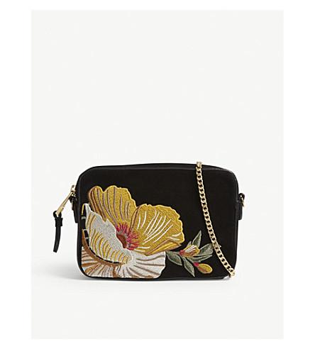 KAREN MILLEN Floral embroidery suede cross-body bag (Black