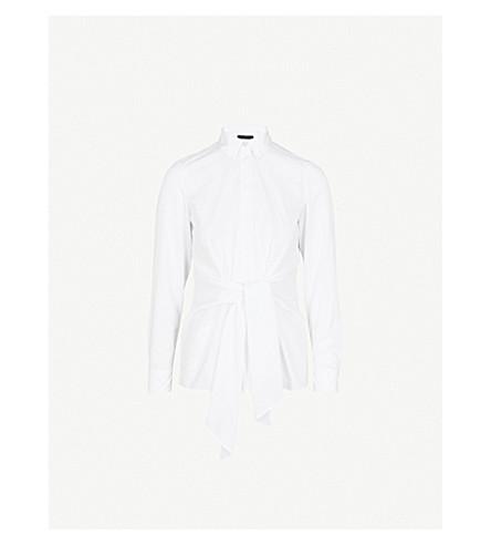 KAREN MILLEN Wrap-front cotton-poplin shirt (White