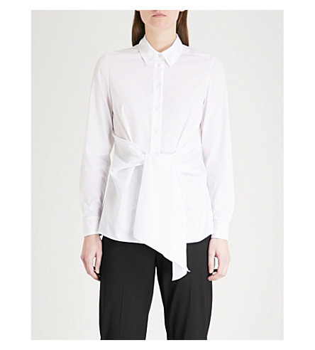 KAREN MILLEN Wrap-front cotton-poplin shirt (White