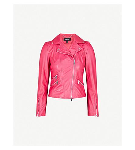 KAREN MILLEN Leather biker jacket (Pink