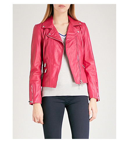 KAREN MILLEN Leather biker jacket (Pink