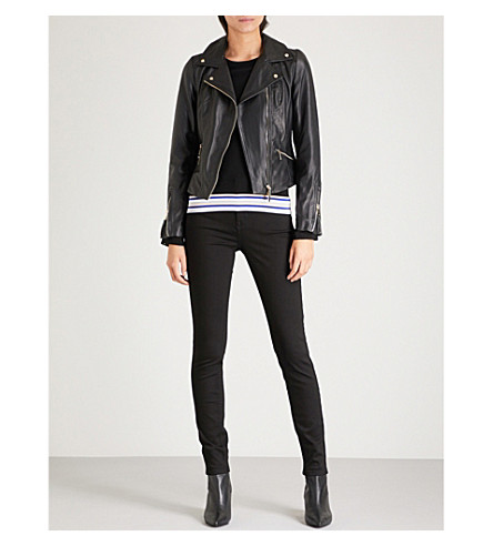 KAREN MILLEN Cropped leather biker jacket (Black
