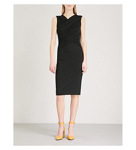 KAREN MILLEN Ruched-detail jersey dress (Black