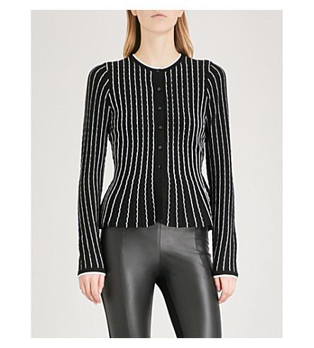 KAREN MILLEN Scalloped-stripe knitted cardigan (Multi-coloured