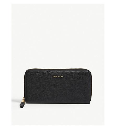 KAREN MILLEN Logo zip-around leather purse (Black