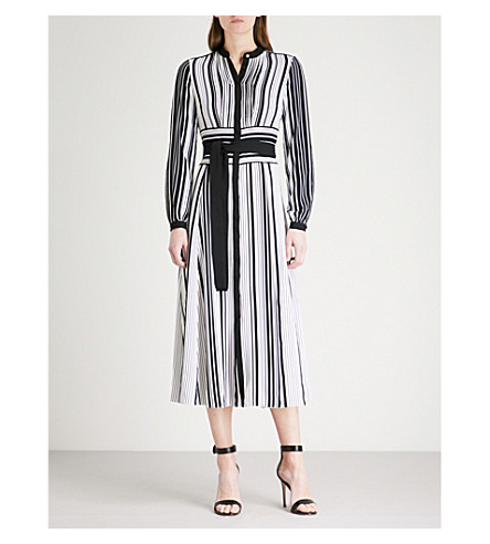 KAREN MILLEN Striped-pattern crepe dress (Monochrome