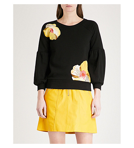 KAREN MILLEN Floral-print cotton-blend sweatshirt (Multi-coloured