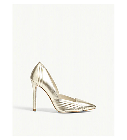 KAREN MILLEN Pleated leather heeled courts (Gold