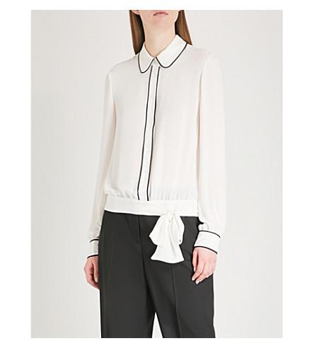 KAREN MILLEN Contrast-trim tie-waist crepe shirt (Cream