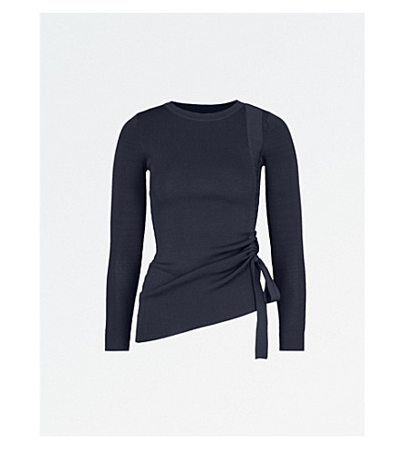 KAREN MILLEN Drawstring-detail stretch-knit top (Navy