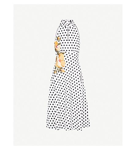 KAREN MILLEN Halterneck embroidered polka-dot crepe midi dress (Grey