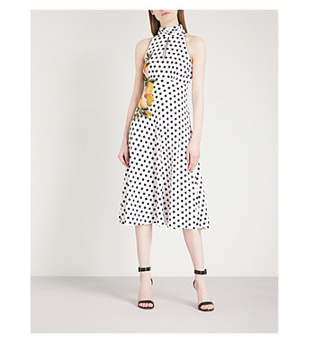 KAREN MILLEN Halterneck embroidered polka-dot crepe midi dress (Grey