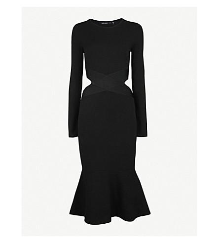 KAREN MILLEN Cutout-detail knitted midi dress (Black