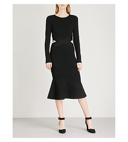 KAREN MILLEN Cutout-detail knitted midi dress (Black