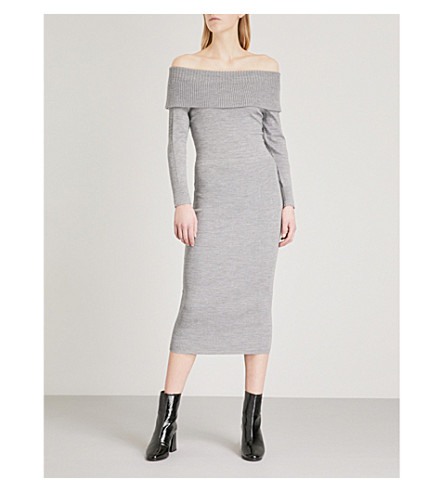 KAREN MILLEN Off-the-shoulder knitted dress (Grey