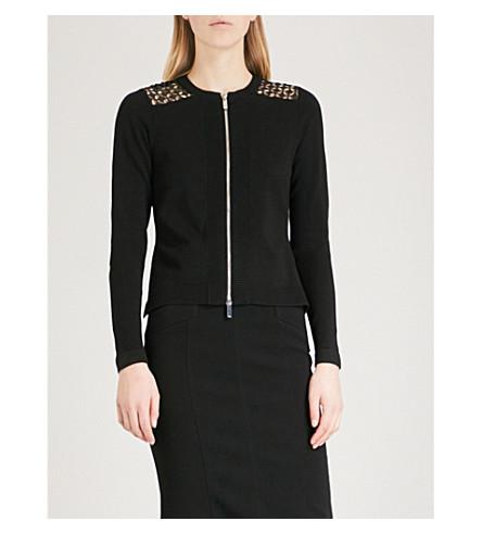 KAREN MILLEN Lace-detail knitted cardigan (Black