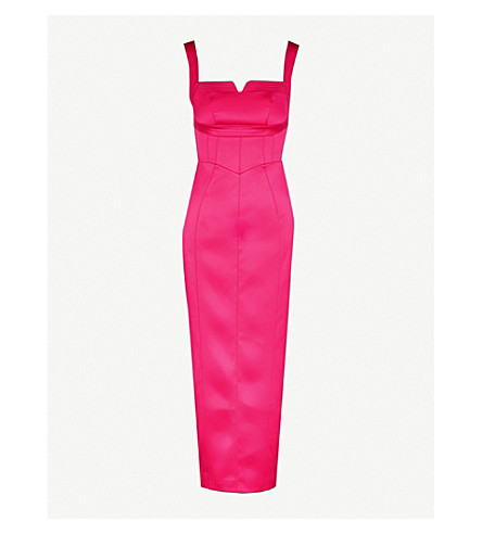 KAREN MILLEN Notched-detail satin dress (Pink