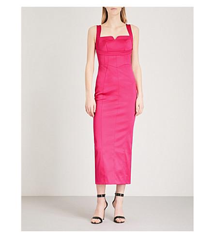 KAREN MILLEN Notched-detail satin dress (Pink