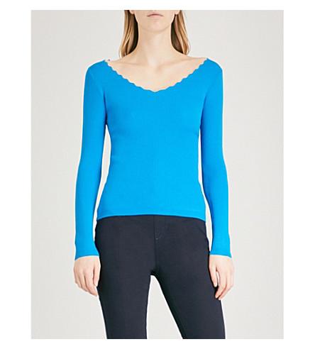 KAREN MILLEN Scalloped-trim knitted jumper (Blue