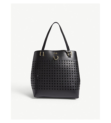 KAREN MILLEN Diamond perforations leather mini bucket bag (Black