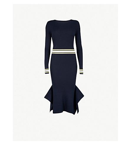 KAREN MILLEN Stripe-trimmed knitted midi dress (Multi-coloured
