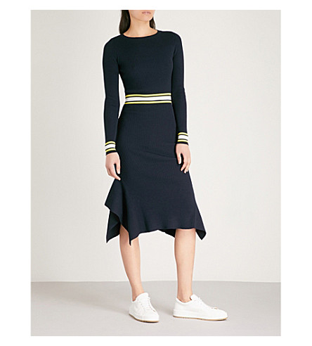 KAREN MILLEN Stripe-trimmed knitted midi dress (Multi-coloured