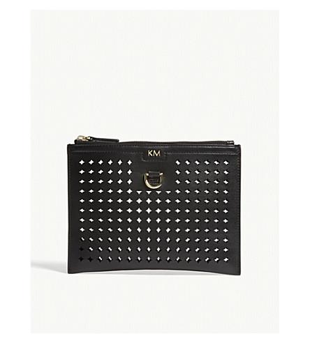 KAREN MILLEN Perforated zipped pouch (Black