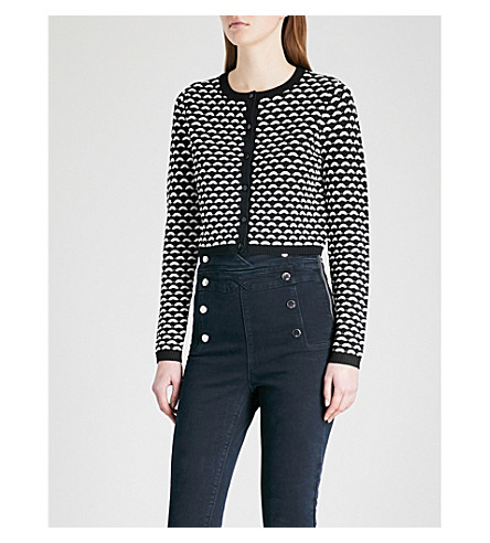 KAREN MILLEN Geometric pointelle-knit cardigan (Multi-coloured