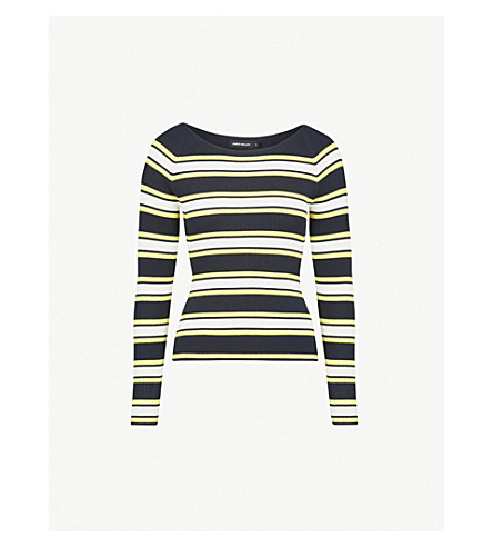 KAREN MILLEN Striped ribbed-knit jumper (Multi-coloured