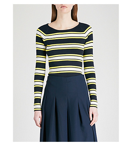 KAREN MILLEN Striped ribbed-knit jumper (Multi-coloured