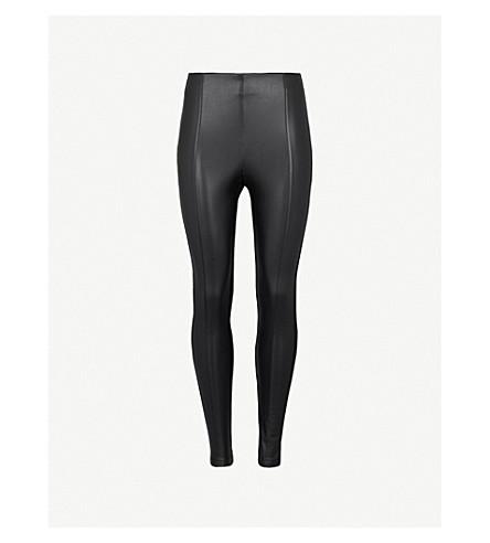 KAREN MILLEN Faux-leather and jersey leggings (Black