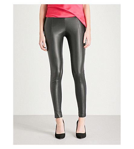 KAREN MILLEN Faux-leather and jersey leggings (Black