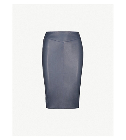 KAREN MILLEN Faux-leather pencil skirt (Navy