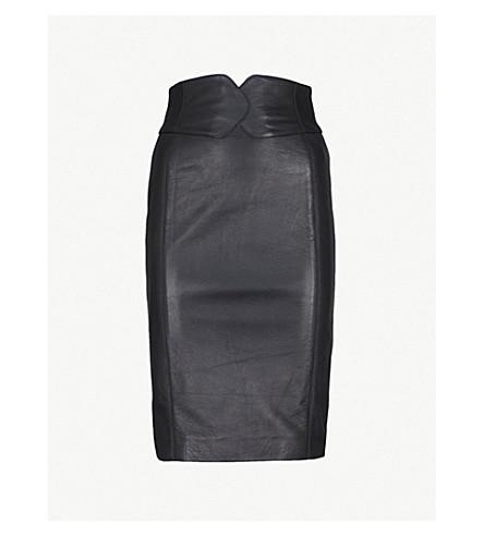 KAREN MILLEN Sassy leather skirt (Black