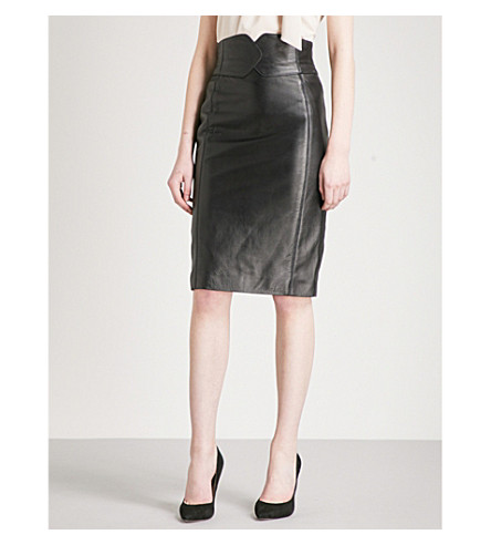 KAREN MILLEN Sassy leather skirt (Black