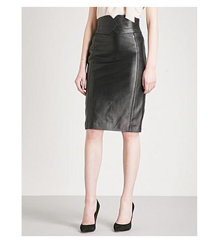 KAREN MILLEN 时髦皮革裙子 (黑色