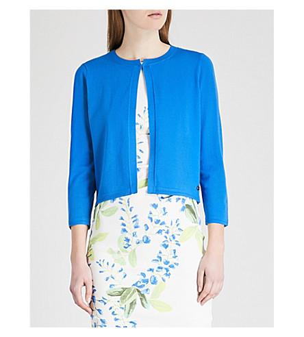 KAREN MILLEN Fine-knit jersey cardigan (Blue