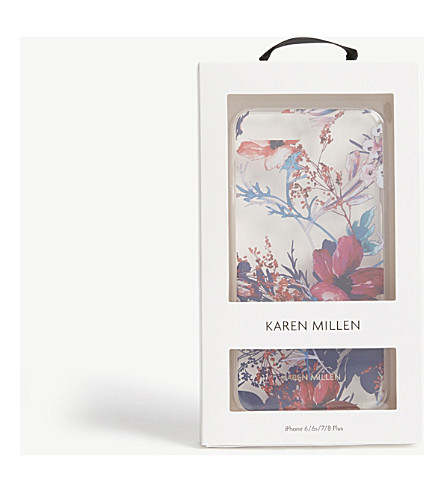KAREN MILLEN Floral iPhone Plus case (Grey