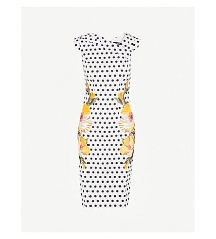 KAREN MILLEN Embroidered polka-dot woven-twill dress (Grey