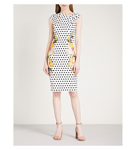 KAREN MILLEN Embroidered polka-dot woven-twill dress (Grey