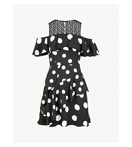 KAREN MILLEN Polka dot cold-shoulder crepe mini dress (Monochrome