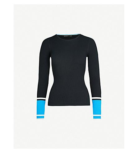 KAREN MILLEN Block-stripe knitted jumper (Grey