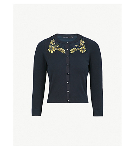 KAREN MILLEN Floral-embroidered cutout ribbed-jersey cardigan (Navy