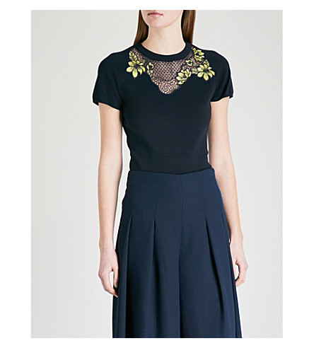 KAREN MILLEN Floral-embroidered cutout ribbed-jersey top (Navy