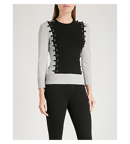 KAREN MILLEN Eyelet-embellished stretch-knit jumper (Multi-coloured